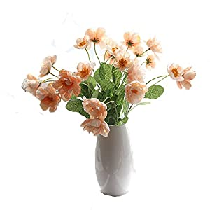Htmeing 6pcs 2 Heads Artificial Poppy Flowers Silk Coquelicot Rose Flowers Wedding Home Decoration 79