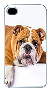 iPhone 4S CaseLazy English Bulldog PC Custom iPhone 4/4S Case Cover White