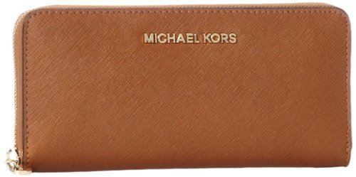 Michael Kors Women's Jet Set Travel Leather Continental Wristlet, Luggage, OS