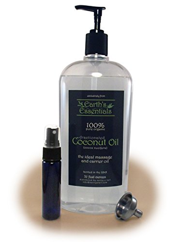Earths-Essentials-Organic-Coconut-Oil-Fractionated-Odorless-32-Oz-Pump-Bottle-USP-Top-Grade-The-Best-Massage-Oil-Product-Available-Anywhere-Bundled-With-1-Oz-Purse-Size-Mister-Bottle-And-Stainless-Ste