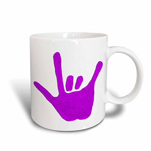 (3dRose 15302_2 Love Hand Sign Language In Purple - Ceramic Mug, 15 oz, Multicolored)