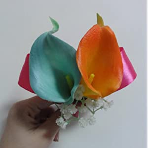Lily Garden Real Touch Two Calla Lily Boutonniere Corsage Customize 34