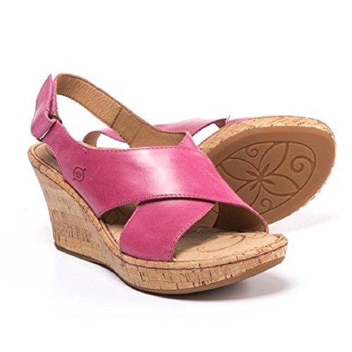 Born Slingbacks (Born Henning Slingback Wedge Women's Leather Fuxia Sandals (Size: 8))