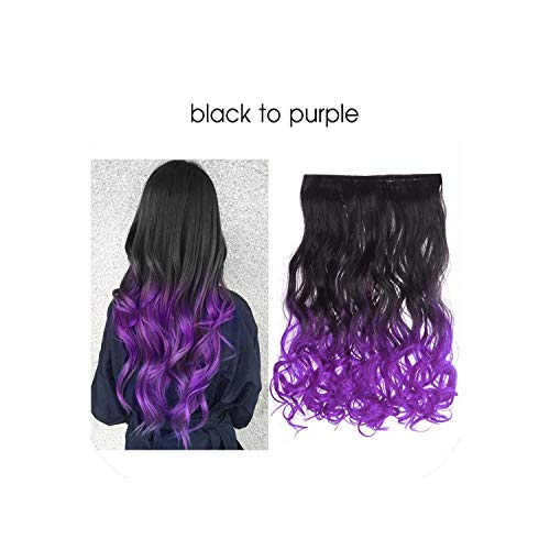 Ombre Long Clip In Hair Extensions Wavy Synthetic High Temperature Hairpiece 25 Colors Available,Black To Purple,20Inches]()