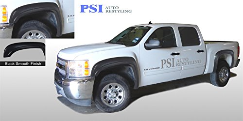 PSI Auto Restyling 800-0107 OEM Style Fender Flares; Front And Rear; Flare Width OEM; Tire Coverage OEM; Smooth Black; Will Have Gas Cap Cutout On Driver Side Rear
