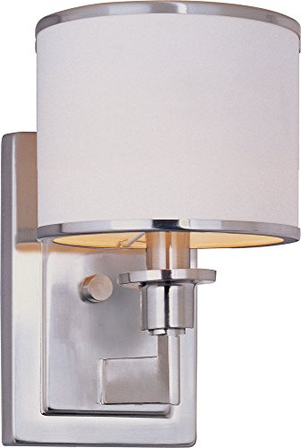 Maxim Lighting 12059WTSN Nexus 1-Light Wall Sconce, Satin Nickel Finish with White Fabric Shade (Satin Nickel Flat Wall Lamp)