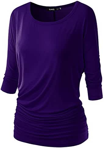TWINTH Womens 3/4 Sleeve Dolman Drape Top with Side Shirring Loose Fit Tunic Top Plus Size