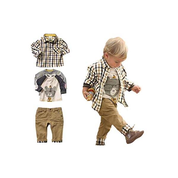 SOPO, set di 3pezzi casual (maglietta + camicia a quadri + pantaloni cachi) per bambini di età da 1 a 5anni Brown 1-2 anni 1