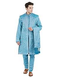 Kurta Pajama for Men 4-Piece Set Sherwani Long Sleeve Wedding Party Wear Dress