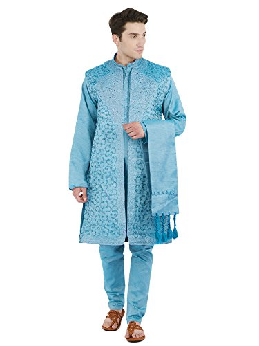 Mens Wedding Kurta Pajama Fashion Long Sleeve Button Down Shirt 4-Pieces Indian Dress -XL for New Year Party