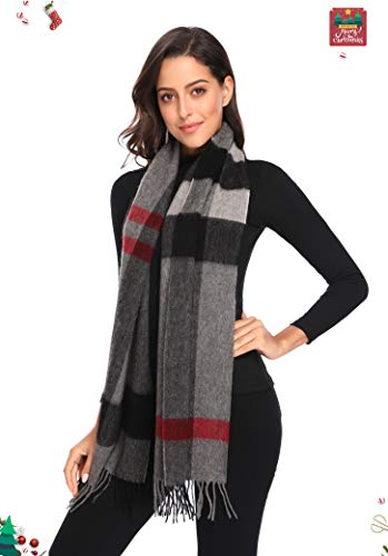 i+k 100% Pure Merino Lambswool Plaid Scarf for Women - Soft Wool Fashion Long Winter Warm Wrap with Gift Box (70.9