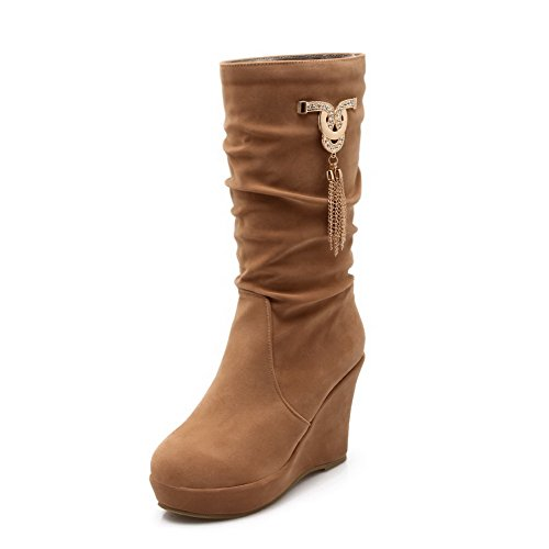 Closed WeiPoot Frosted Round Toe Pull Boots Mid Camel High Heels On Women's Top gqq64wxaS