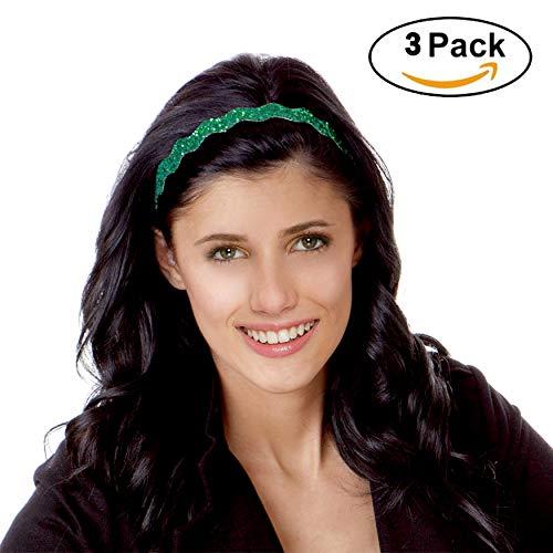 Irish Green Hairbands St Patrick's Day Headband Mixed Gift Packs of 3 - Adjustable NO SLIP Bling Glitter Headband for Women, Kids Hair Ornament Party - Headband Glitter Green