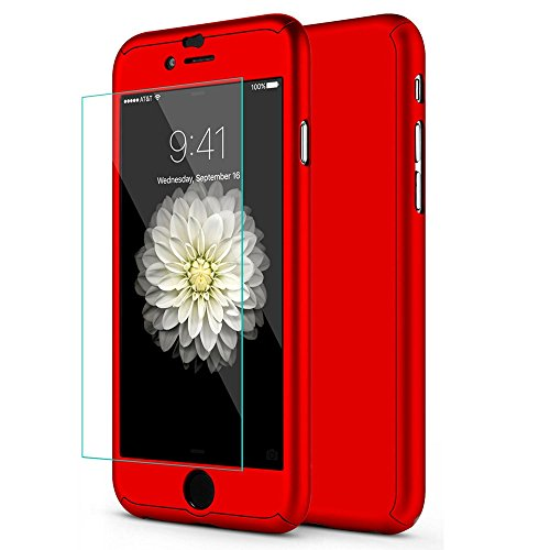 iPhone 7 Plus 5.5 Inch Full Body Hard Case-Auroralove Red 360 Degree Full Protective Slim Sleek Front Back Case for iPhone 7 Plus 5.5 Inch with Tempered Glass Screen Protector