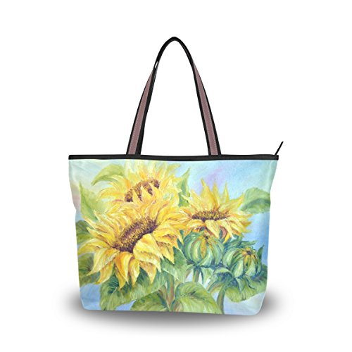 JSTEL Women Large Tote Top Handle Shoulder Bags Oil Painting Sunflowers Patern Ladies Handbag L