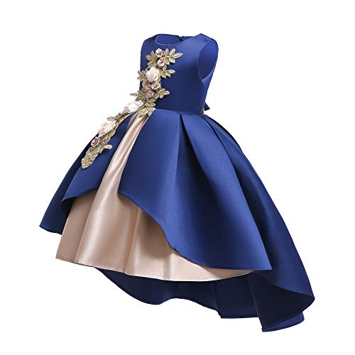 AIMJCHLD Hi-Low Sleeveless Flower Girl Dresses Summer Wedding Party Dress Pageant Gowns Christmas Easter Halloween Birthday Holiday Sundress Size 5 6 Years (Navy Blue 130) -