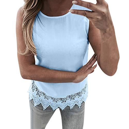 Shisay Womens Chiffon Lace Ruffle Hem Sleeveless Pullover Tank Top Sexy Blouse Tunic Shirt Blue
