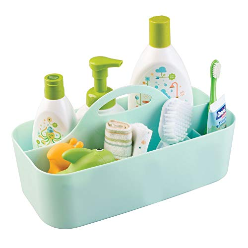 mDesign Plastic Portable Nursery Storage Caddy Tote - Divided Basket Bin with Handle for Organizing Bottles, Spoons, Bibs, Pacifiers, Diapers, Wipes, Baby Lotion - BPA Free - Large, Mint Green from mDesign