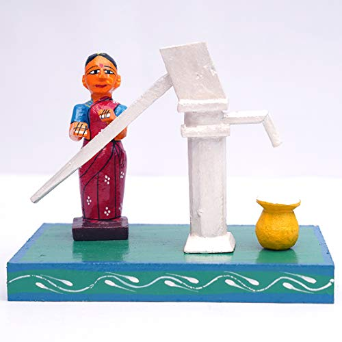 ANDHRA HAND CRAFTS -KONDAPALLI Village Women with Hand Pump 7X4X6