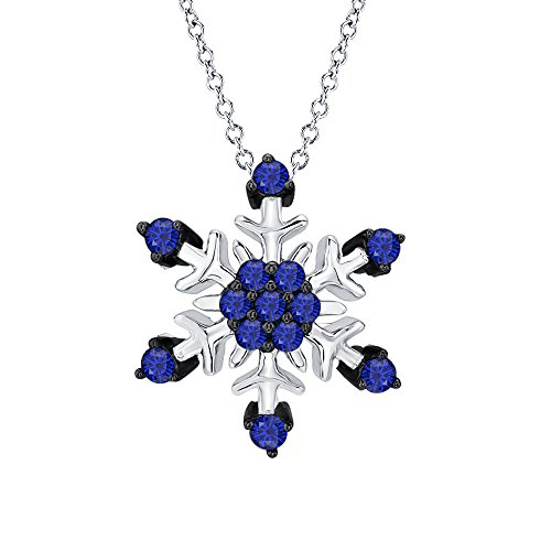 RUDRAFASHION 14k White & Black Gold Plated 925 Sterling Silver Blue Sapphire Snowflake Pendant Necklace For Women & Girls