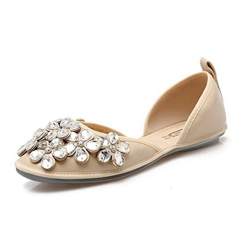 AalarDom Mujer Sin cordones Material Suave Sólido Plano-Diamante Albaricoque
