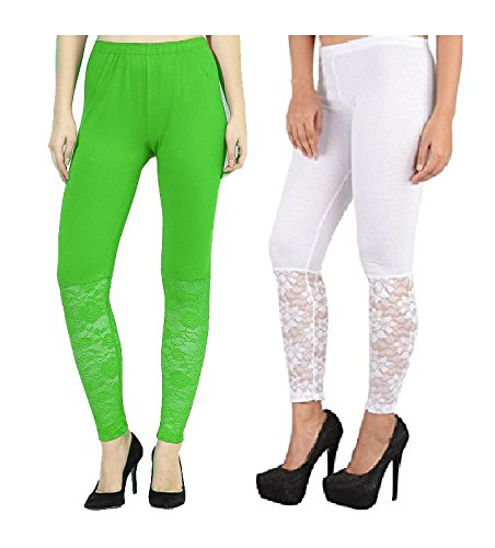 92db211f65b48 Buy Preet Gehna Designer Half net Combo(White, Green) Ankle Length Leggings  for Women, Free Size Online at Low Prices in India | Amazon Jewellery Store  ...