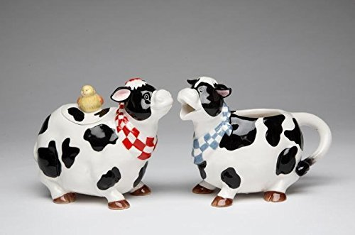 Black and White Cow Couple Creamer and Sugar with Chick Top Lid