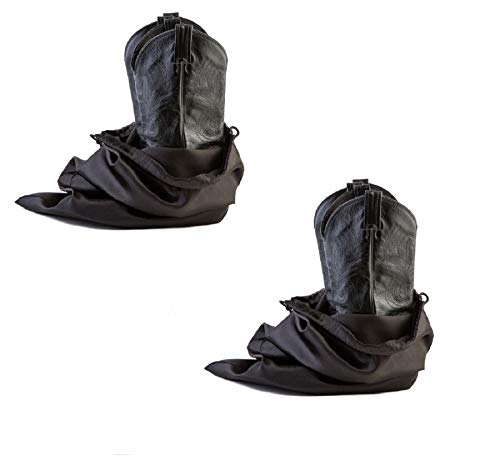 Tuff Guy Travel and Storage Boot Bags, Cowboy Boot Bag, Made of Strong Water Proof Ballistic Nylon w/Locking Drawstring (Black) -Set of 2 Travel Boot Bags, 18