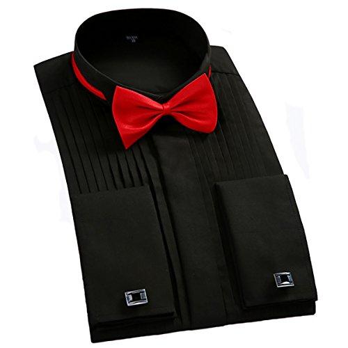 - TAOBIAN Mens Pleated Tuxedo Shirt French Cuff Formal Dress Shirt Wing Tip Collar Black US Medium