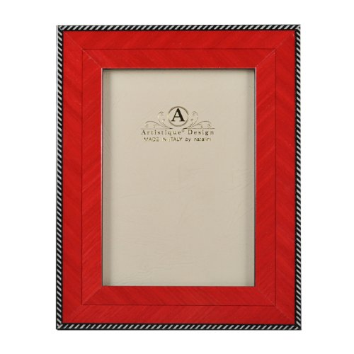 Beautiful and Elegant Carefully Hand Crafted Natalini Italian Marquetry Wood 4 x 6 Picture Frame OBL-30 Rosso Design OBL - 30 Red Classic Herringbone Design with Border Detail Made in Italy Hand Made from High Quality Wood Veneer and Soft Velvet Backing Stylish and Posh Comes in a Window Type Gift Box AFRS46 ()