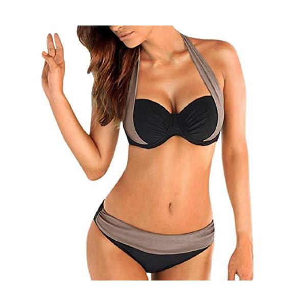 heekpek Costumi da Bagno Donna Halter Due Pezzi Bikini Set Push Up Triangolo Bottom Corrispondenza dei Colori Beachwear