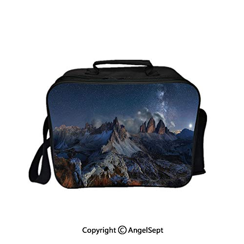 Fashion Custom Lunch Bag Tote Bag,Dolomites Italy Alps Mountain Landscape with Starry Night Sky Milky Way Decorative Dark Blue Redwood Tan 8.3inch,Lunch Organizer Lunch Holder For Unisex - Redwood Drink Holder