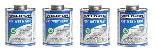 IPS Corporation GIDDS-451200 PVC Weld On Cement Wet N Fast Blue 1/4 Pint (Fоur Расk) by Weldon (Image #1)
