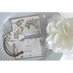 Janine Lea Swan designs 100 World Map Luggage Tag Favors Ivory $1.25 ea.