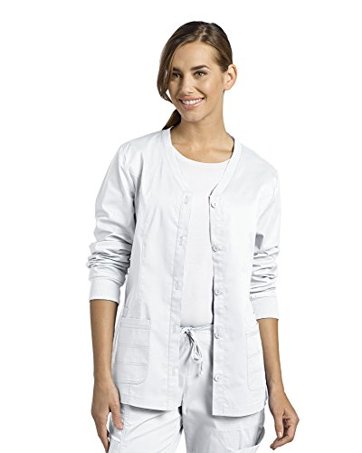 Allure by White Cross Women's Button Front Cardigan Warm Up Scrub Jacket Medium White