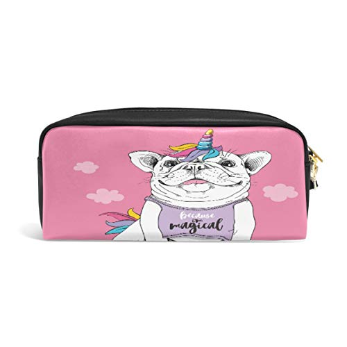 Pencil Case Big Capacity Pencil Bag Makeup Pen Pouch Cute French Bulldog in A Costume of Unicorn Wig Horn and Tail On Pink Background Durable Students Stationery Pen Holder for School/Office ()