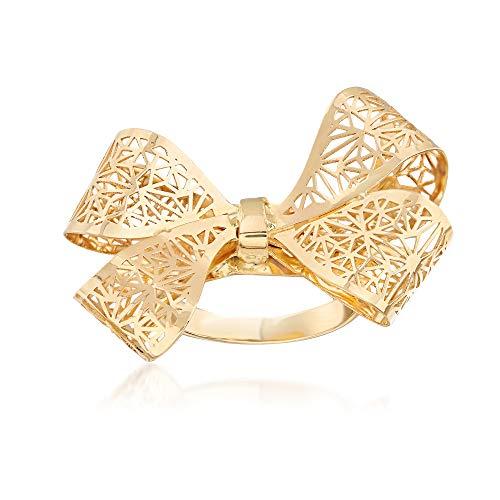 Ross-Simons Italian 14kt Yellow Gold Filigree Bow Ring