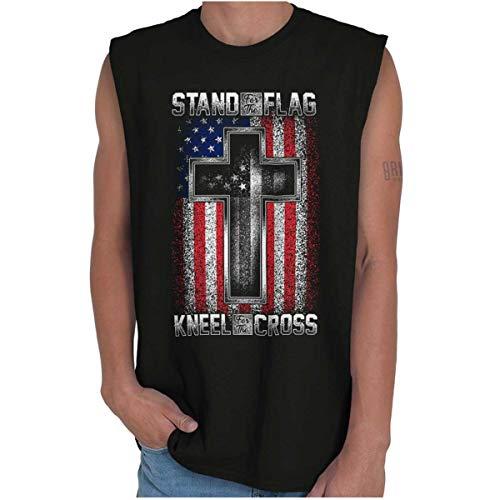 Stand Flag Kneel Cross Christian American Sleeveless T Shirt ()