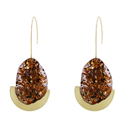 (MVCOLEDY Dangle Drop Earrings Gold Druzy Stone Beads, Vintage Style Earrings for Women and Girls (Brown))