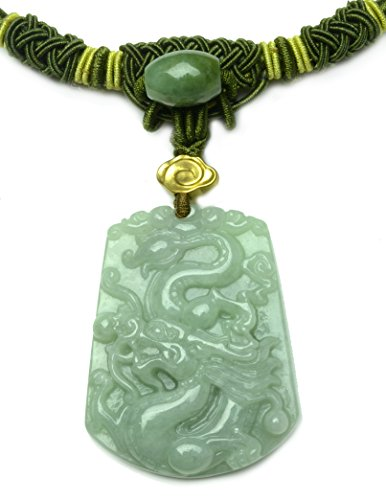 - Auspicious Dragon Carved Green Jade amulet Necklace with Jade Decorated Cord- Fortune Fashion Jewelry
