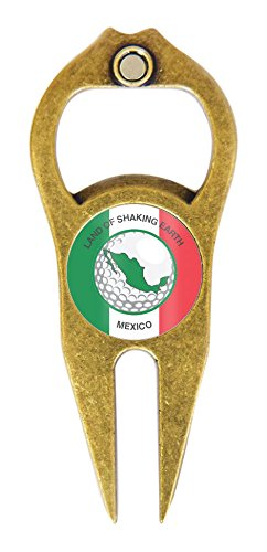 - Hat Trick Openers Hat Trick 6 In 1 Golf Divot Tool Mexico Logo, Antique Brass