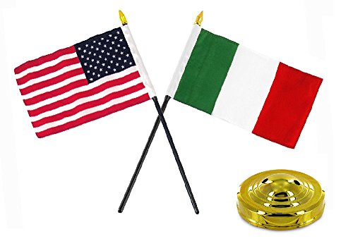 ALBATROS Italy Italian with USA American Flag 4 inch x 6 inch Desk Set Table Stick with Gold Base for Home and Parades, Official Party, All Weather Indoors Outdoors