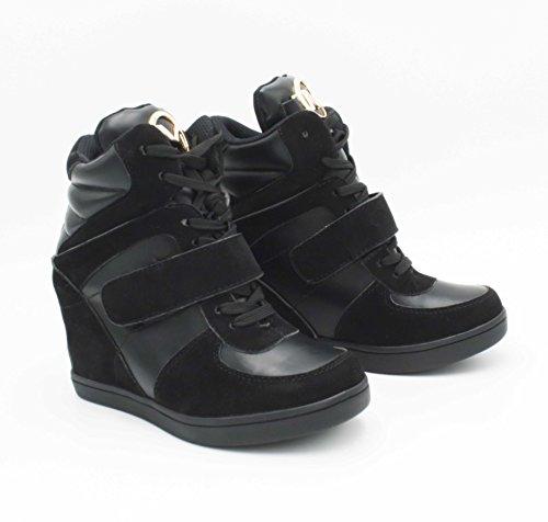 Casuel Baskets Noir Tendance Suède Bimatière En Sneakers Mode Lacet� chaussure Compensées Montantes Tennis Femmes Ville De Scratch Daim � imitation Haut Chic Talon qwUxqB7r
