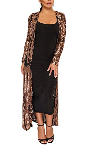 Black Gold Cardigan (Memorose Womens Sequin See Through Open Front Cover Up Long Sleeve Long Cardigan Coats Black XL)