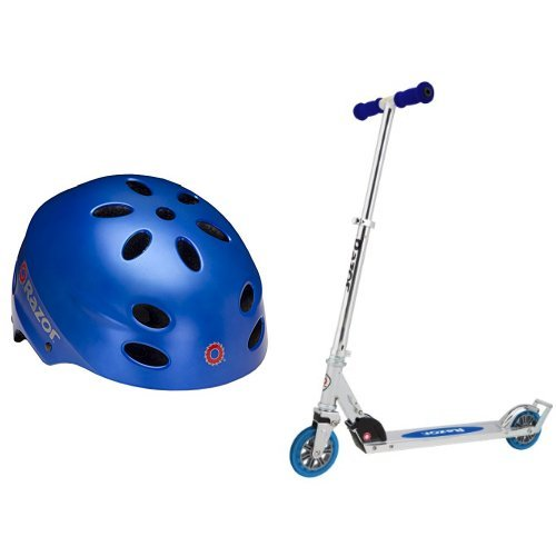 Razor V-17 Child Multi-Sport Helmet, Satin Blue and Razor A3 Kick Scooter (Blue) Bundle