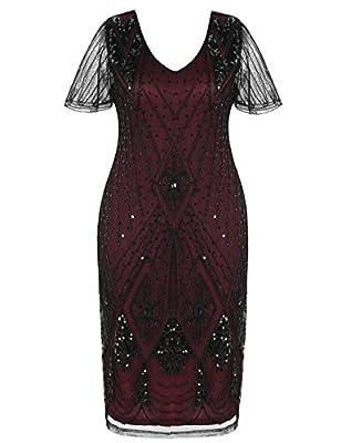kayamiya Women's Gatsby Dress Sleeves 1920s Inspired Bead Sequin Cocktail Flapper Dress