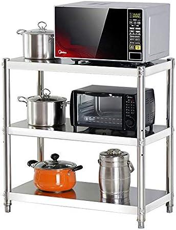 Hilier cocina 80 cm Estante de 3 niveles de acero inoxidable para ollas de microondas horno