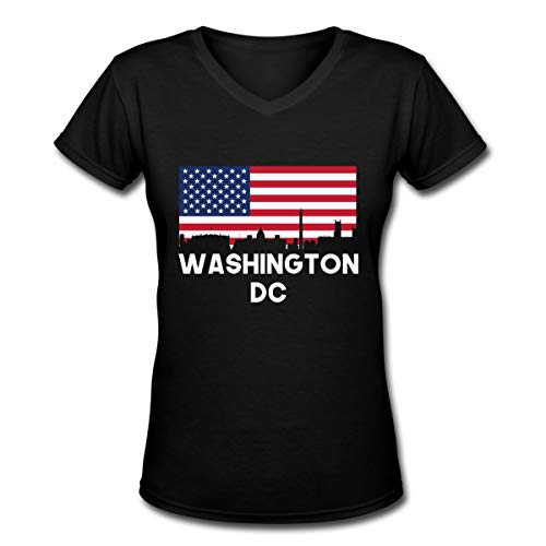 Washington DC American Flag Women V-Neck Short Sleeve T-Shirt -