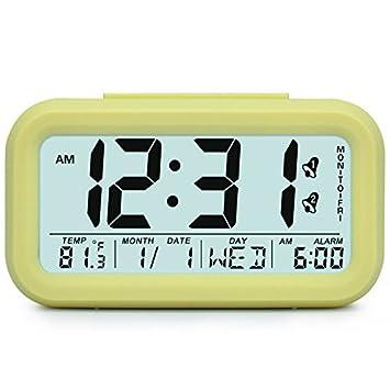HzxlT Große Digitale Wecker LCD Student Elektronische Uhr Snooze Sensor  Kinder Tischuhr Schlafzimmer Uhr Nachtlicht 2