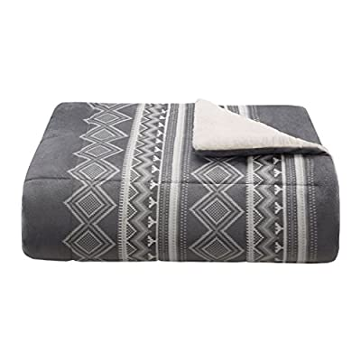 Woolrich Anderson Luxury Print Mink Down Alternative Filled Throw Grey 50x70   Plaid Premium Soft Cozy Mink For Bed, Couch or Sofa - Set Includes: 1 Throw Cover: mink face Filling: 6D fiber Measurements: 50-by-70-inch Throw - blankets-throws, bedroom-sheets-comforters, bedroom - 41NUutPEd L. SS400  -
